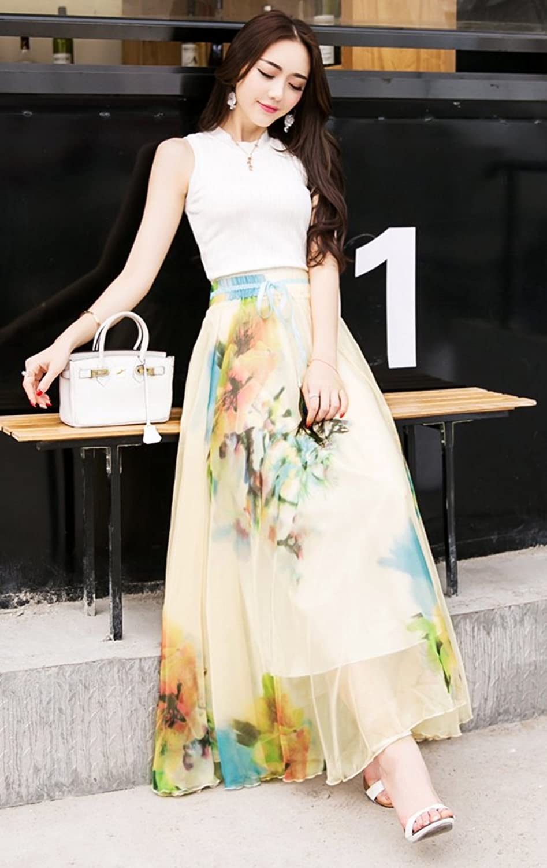 Fashion mia complaints - Izacu Tm Womens Blending Chiffon Retro Long Maxi Skirt Vintage Dress One Size Dm611 At Amazon Women S Clothing Store