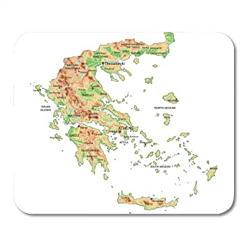 Amazon.com : Emvency Mouse Pads Aegean High Detailed Greece Physical ...