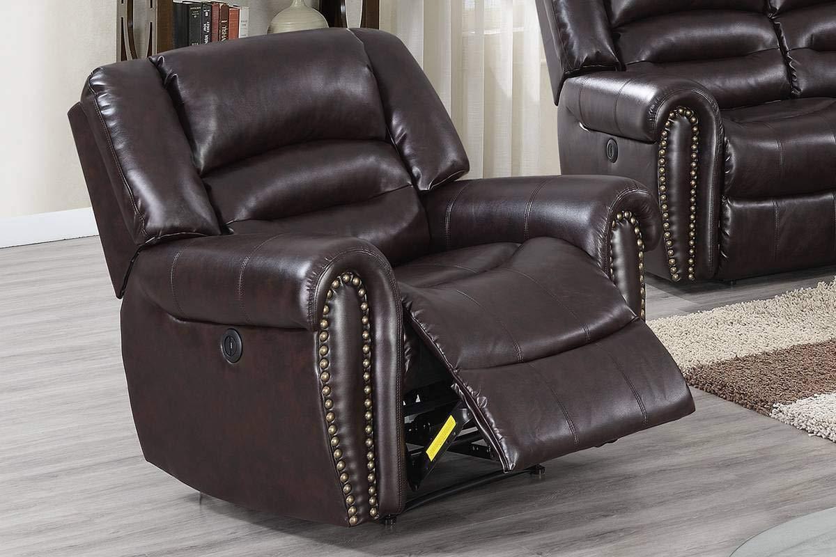 Amazing Amazon Com 3Pcs Modern Brown Bonded Leather Power Sofa Spiritservingveterans Wood Chair Design Ideas Spiritservingveteransorg