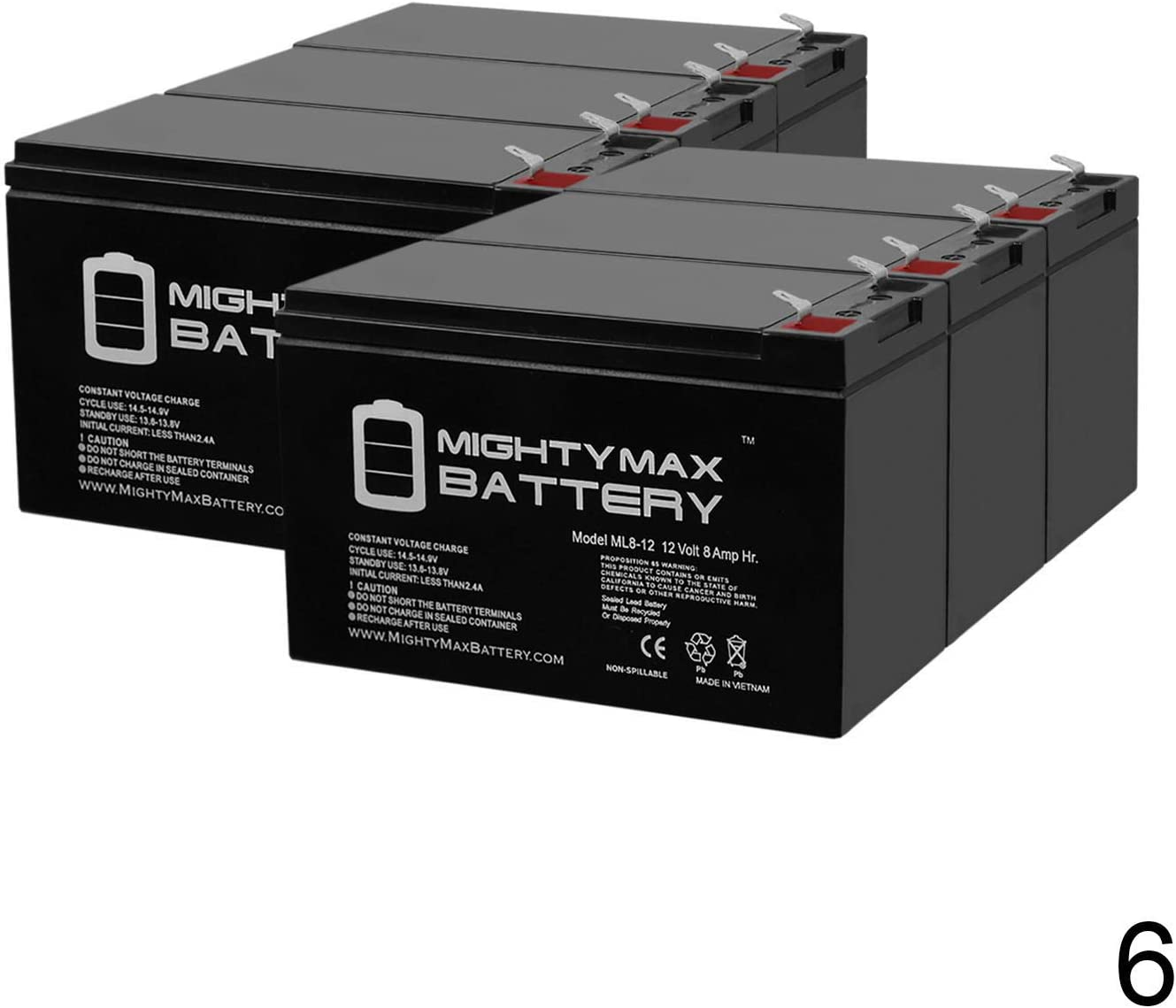 Mighty Max Battery 12V 8Ah for Smart-UPS SC 1500VA 12V-2U Rackmount-Tower SC1500-6 Pack Brand Product