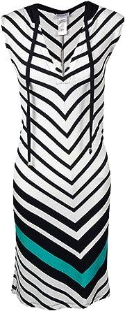 Dotti Womens Hooded Chevron Striped Swim Cover Up Black//Teal Medium