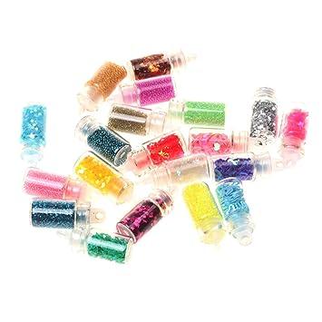 20 Bottles Nail Art Beads Glitter 3d Decoration Powder Rhinestone