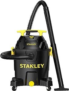 Stanley 10 Gallon Wet Dry Vacuum, 6 Peak HP Poly Built-in Drain Shop Vac Blower with Powerful Suction, Multifunctional Shop Vacuum W/ 6 Horsepower Motor for Jobsite, Garage,Basement,Van,Workshop
