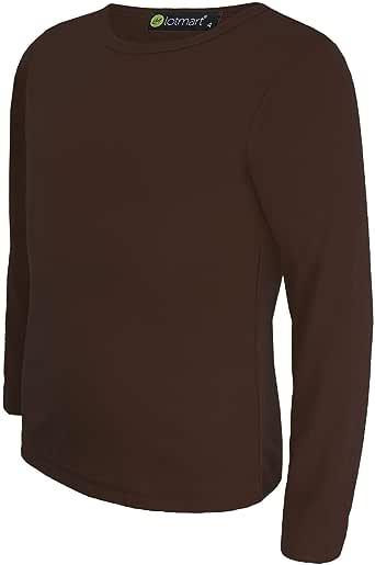 LOTMART Llanura de Niños Básico Camiseta de Manga Larga Niña Niño Camiseta Redondo Uniforme Camiseta - Marrón Oscuro, 9-10 Años: Amazon.es: Ropa y accesorios