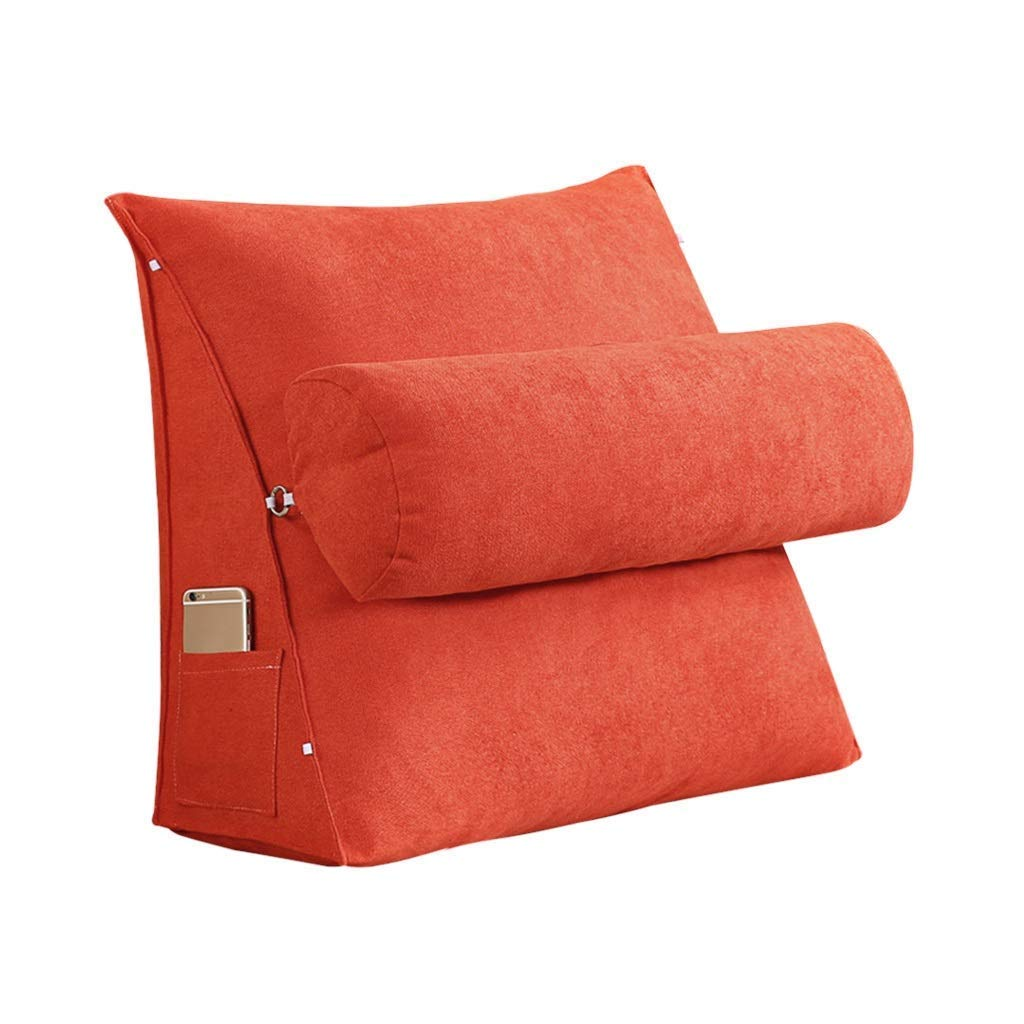 Lil Band Head Pillow Triangle Cushion, Sofa Office Bay Window Lumbar Pillow/Lumbar Support Waist/Pillow (can Be Adjusted in Three Steps) (Color : Orange, Size : 60x50x20cm)