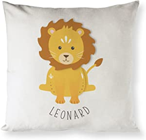 The Cotton & Canvas Co. Personalized Lion Home Decor Pillow Cover, Pillowcase, Cushion Cover and Decorative Throw Pillow Cover for Nursery and Kid's Room (Natural Color, Not White)