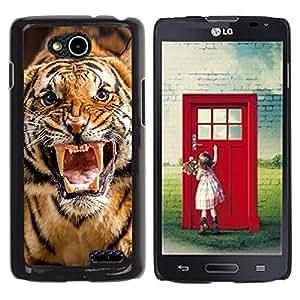 TopCaseStore / la caja del caucho duro de la cubierta de protección de la piel - Roar Tiger Stripes Wild Animal Nature - LG OPTIMUS L90 / D415
