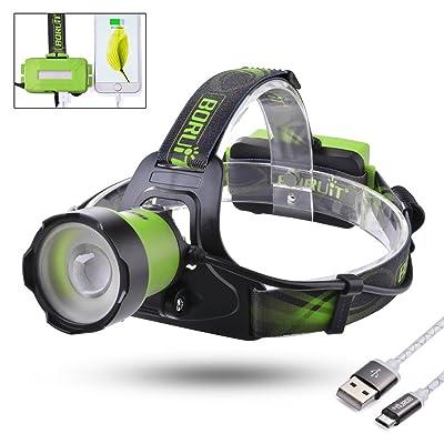 Sunix® 1600 Lumen Zoomable LED Projecteur Phare avec Feux Rouges-4400mAh Power Bank - 3 Modes d'Eclairage avec Sifflet SOS Parfait pour Course, Marche, Camping, Lecture, Randonnée, + 2 PCS Batteries Rechargeables 1