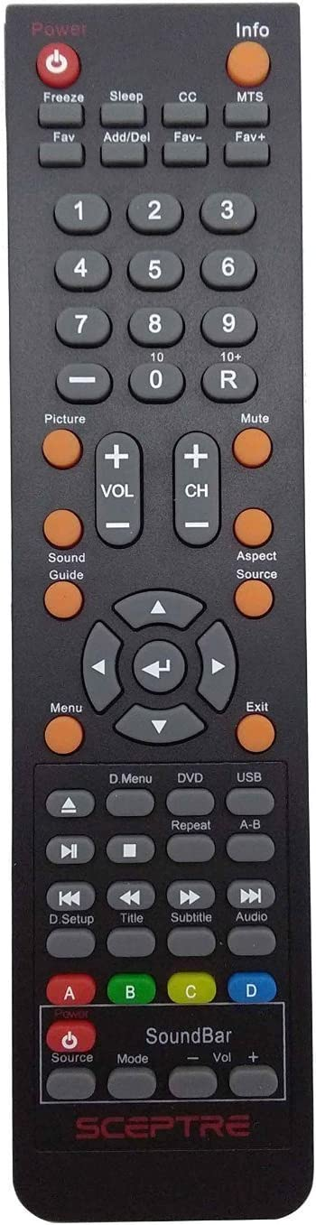 Smartby New Sceptre TV DVD Soundbar Combo Remote for Sceptre TV DVD Soundbar E243BD-FHD E246BD-FHD E325 E245BD-FHDU E325BV-HDCE325-E328BV-FMD E328BD-HDC E475BV-FMDU X322BV-HDR E328BV-HDH E243BD-FHD