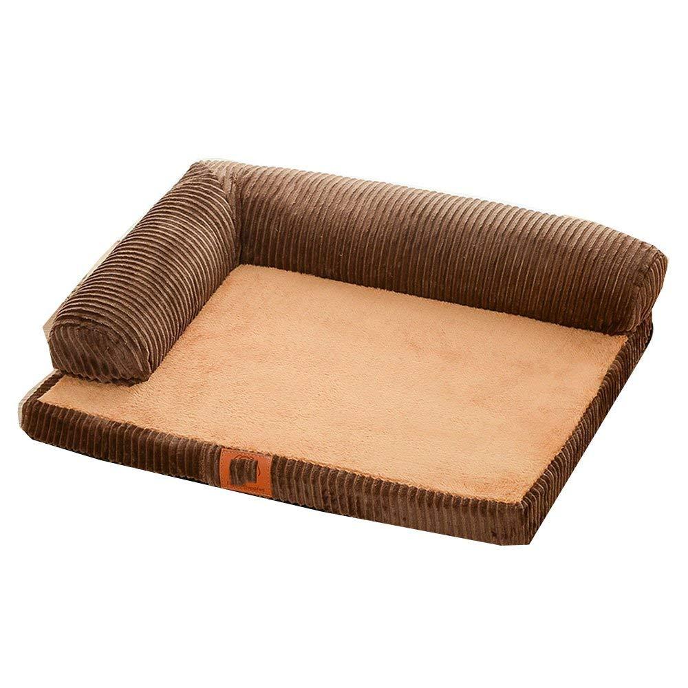 Brown Medium Brown Medium Bite-resistant Washable Four Seasons General Pet Mattress Small Pet Bed Soft Pad for Pets Sleeping (color   Brown, Size   Medium)