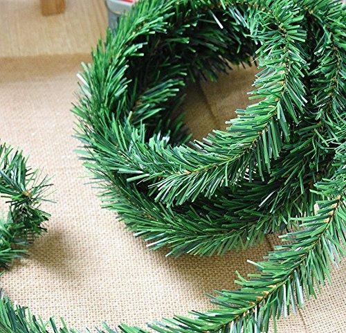 Christmas Garlands - 20 Feet Ties Indoor/Outdoor Window Door Ornament Flexible Green Fir Hanging Artificial Vine Garland for Christmas Decor Holidays Wedding