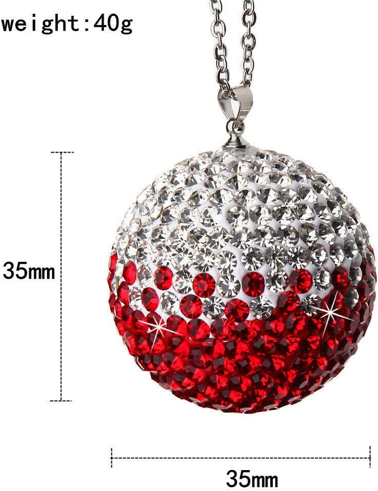 Zhanfashion Bling Car Accessories for Women and Man,Car Decoration,Red Crystal Ball Car Rear View Mirror Charm,Lucky Crystal Sun Catcher Ornament,Ornament for Car /& Home Decor