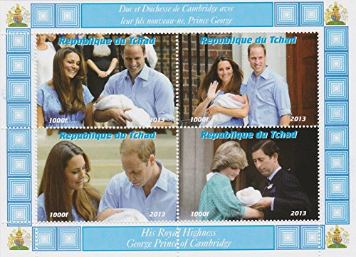 Princess Diana Prince William (Royal baby stamps for stamp collecting - The Royal Baby Prince George, Kate Middleton, Prince William, Prince Charles and Princess Diana miniature commemorative stamps - 4 mint stamps on an never hinged stamp sheet - never mounted)