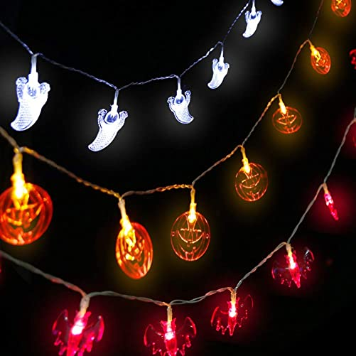 AODINI Halloween String Lights, 9.8 Ft 20 LEDs Orange Pumpkins, Purple Bats, White Ghosts,with 2 Lighting Modes Steady-on Flash for Festival, Party, Halloween Decoration, Indoor Outdoor