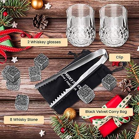 Tazza de Whisky Set, 8X Whisky Piedras, 2X Tazzas de Wisky, 1X Pinzas, 1X Bolsa de Hielo,1X Exquisita Caja de Embalaje de Madera, para Amigos y Familias, Hogareña Decoración, Regalo