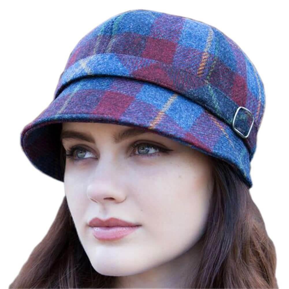 Mucros Weavers Ladiesフラッパーキャップ – ブルーレッド、アイルランドからアイルランド製ウール   B01LZDFXDT