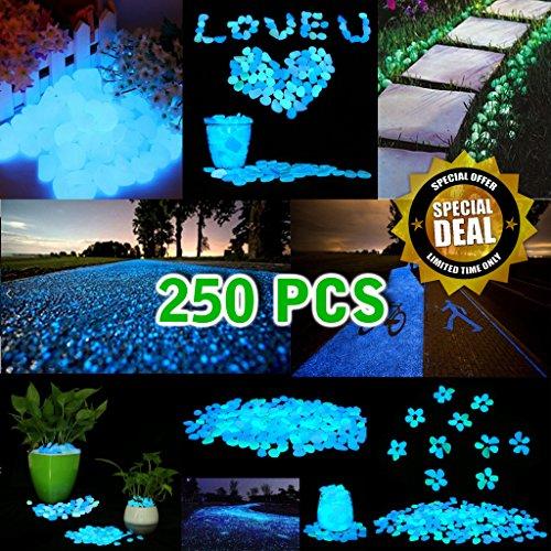 ⭐⭐⭐⭐⭐ 250PCS Glow Stones | Pebbles | Rocks | Fairy Garden Decoration | Decorate Your Patio | Lawn | Garden | Fish Tanks | Walkways | Pathways | Driveways | Glow in the Dark Fairy Stones (Christmas Trees Walkway)