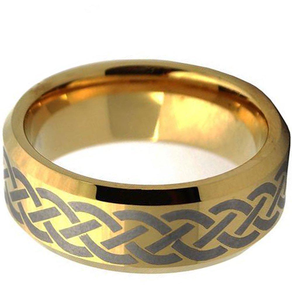 NYBUCHI Tungsten Men Women Gold Laser Cross Mesh Pattern Ring Wedding Band,Size 6-13.5