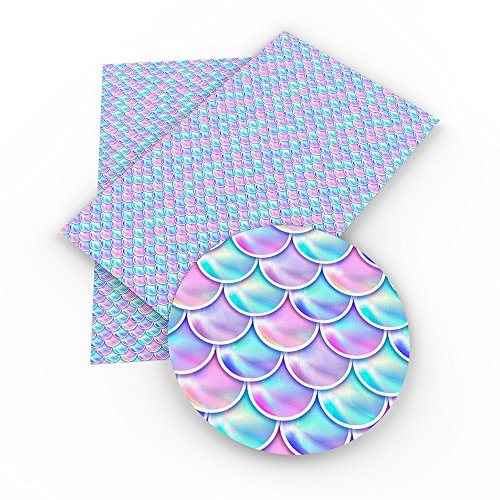 Mermaid Synthetic Leather Fabric Fish Scales Printed Leather Sheets 9pcs 8'' x 13'' (20cm x 34cm) Canvas Back Craft DIY Craft Assorted Colours (Assort I) by David accessories (Image #5)