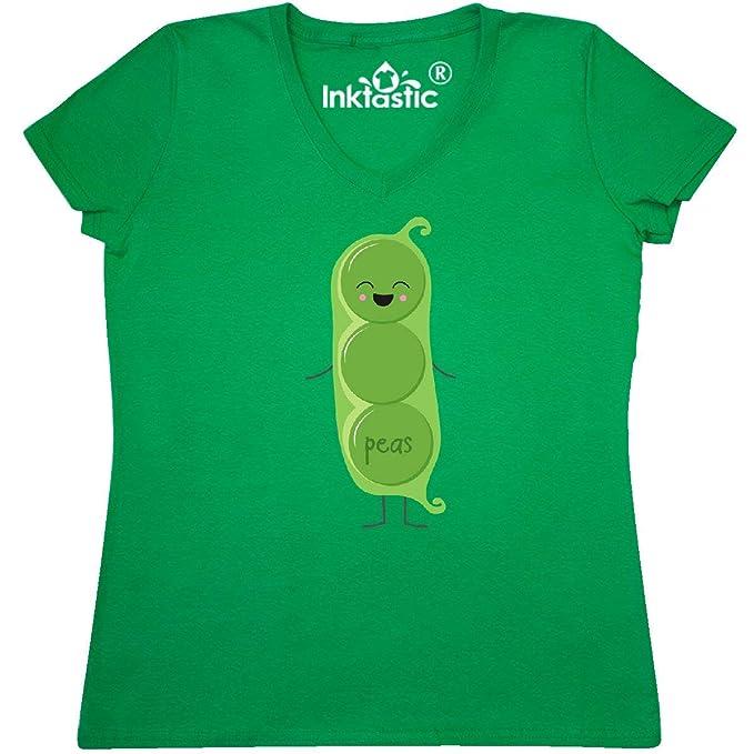 84c291ce18e5a inktastic - Peas Costume Women's V-Neck T-Shirt Small Kelly Green 31d0f