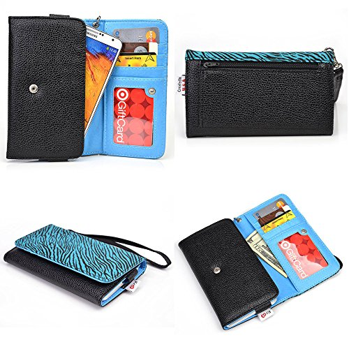 Blu Life Pure XL, Life Pro Smartphone Wallet Case {Black and Aqua Green Zebra Print/ Electric Blue Interior} - Universal Women's Wristlet + NextDia Velcro Strap