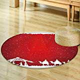 Area Silky Smooth Rugs christian christmas scene on red background illustration  Home Decor Area Rug -Round 39''