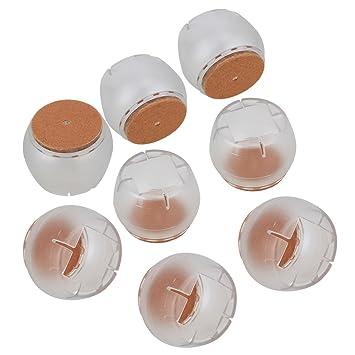 WEONE transparente 25-35mm calibre redondo fondo cuadrado de apertura pata de la silla Caps patas de goma protector de ratón de muebles manteles ...