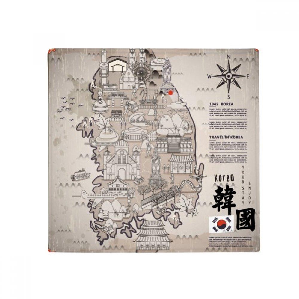 DIYthinker 1945 South Korea Landmarks Map Anti-Slip Floor Pet Mat Square Home Kitchen Door 80Cm Gift