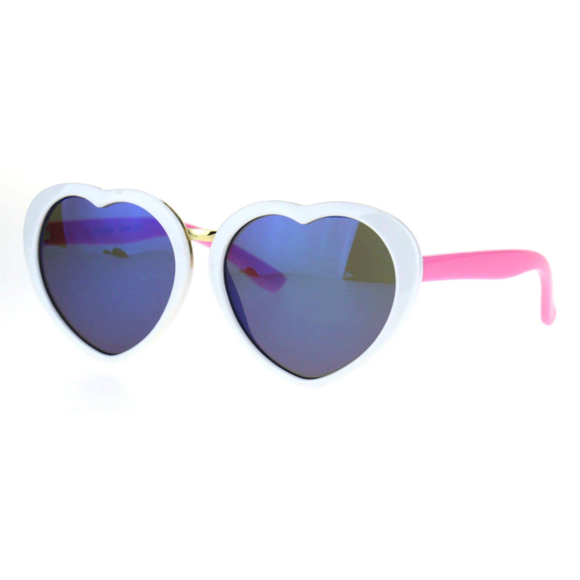 Kids Child Size Girls Color Mirror Heart Shape Love Valentine Sunglasses White Blue