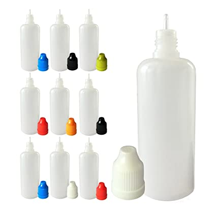 100 ml botellas de plástico LDPE punta fina Squeezable Dropper con tapas de color blanco y