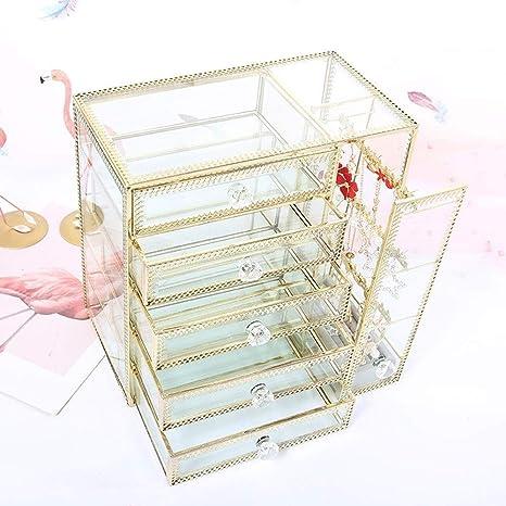 YYANG Caja De Almacenamiento De Metal De Vidrio Ewelry Vidrio ...