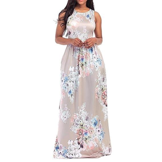 ShiTou Dress, Flowers, Printed, Sleeveless, Beach Dress at Amazon Womens Clothing store: