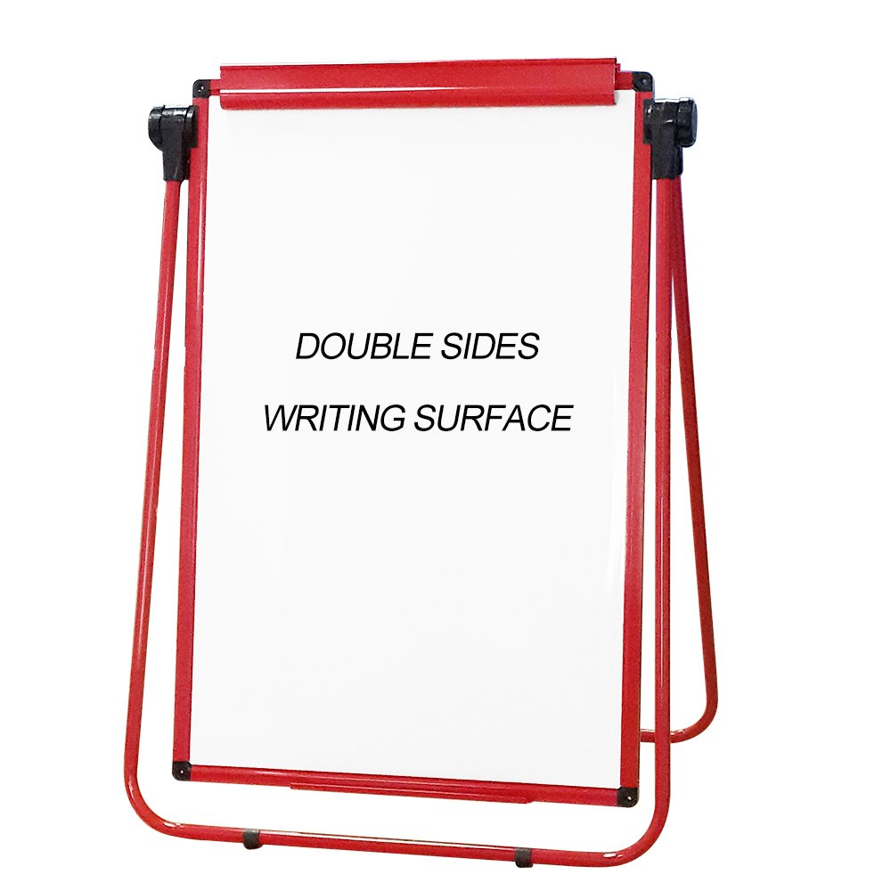 XIWODE MagneticEasel-style Dry Erase Board, Flip Chart Red U-StandWhiteboard, 36 x 24 Inch,Aluminum Framed, with Metal Clipsand Eraser, Foldable WhiteBoard for School, Home, Office