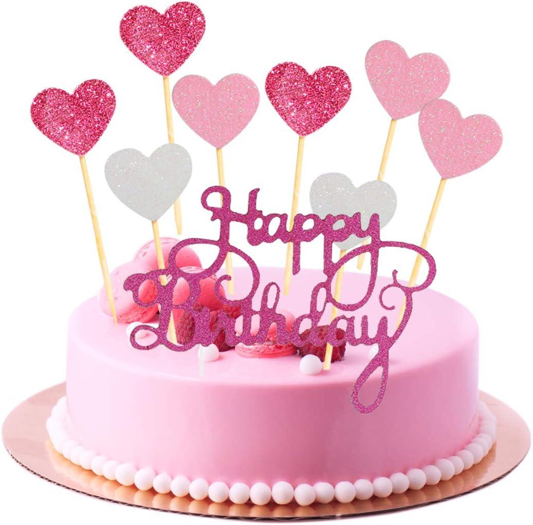 Fangleland Decorazioni per Torte Rosa e Argento Topper Cupcake Glitter  Cuore e Topper Torta Buon Compleanno per Ragazze o Donne Festa di Compleanno:  Amazon.it: Giochi e giocattoli
