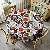 Wholesale tablecloths Sports Decor Collection,Pattern with Billiards Balls Hockey Pucks Darts Arrows and Target Boards Image,Orange White Burgundy D 50' Tabletop Decoration Round Tablecloth