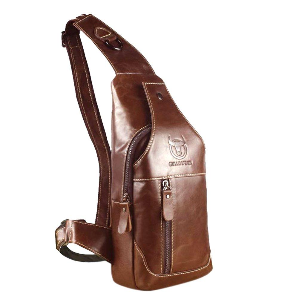 ShiningLove Mens Genuine Leather Sling Bag Single Shoulder Bag Men Chest Crossbody Satchel Waist Pack XY-20170719-BAG201
