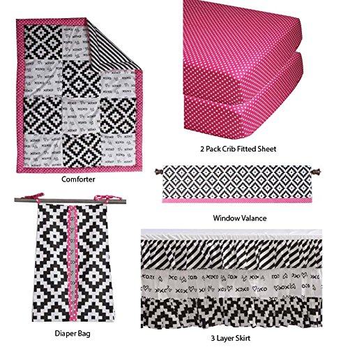 Bacati Love Girls Patchwork 6 Piece Crib Set, Black/Fuschia