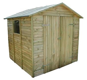 Caseta cobertizo de madera de pino impermeabilizado. 240 x 233 cm y 216 cm de altura.: Amazon.es: Jardín