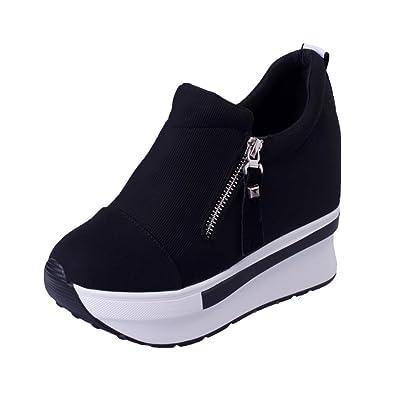 Womens Black Sneaker Pumps Slip on Shoes Running Athletic Hidden Heel  Zsell