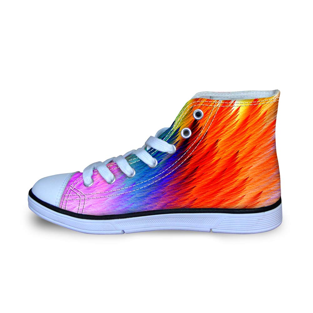 Canvas High Top Sneaker Casual Skate Shoe Boys Girls Holi Colorful Powder Unfolding Wings Feathers