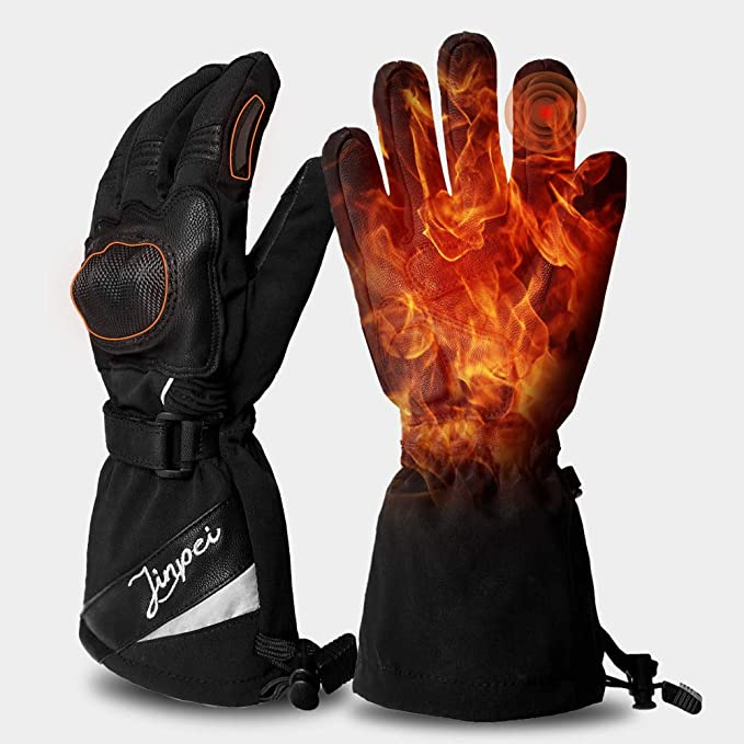 Bicycle Biker Riding Heated Mittens Waterproof Winter Warm Electric Thick Gloves