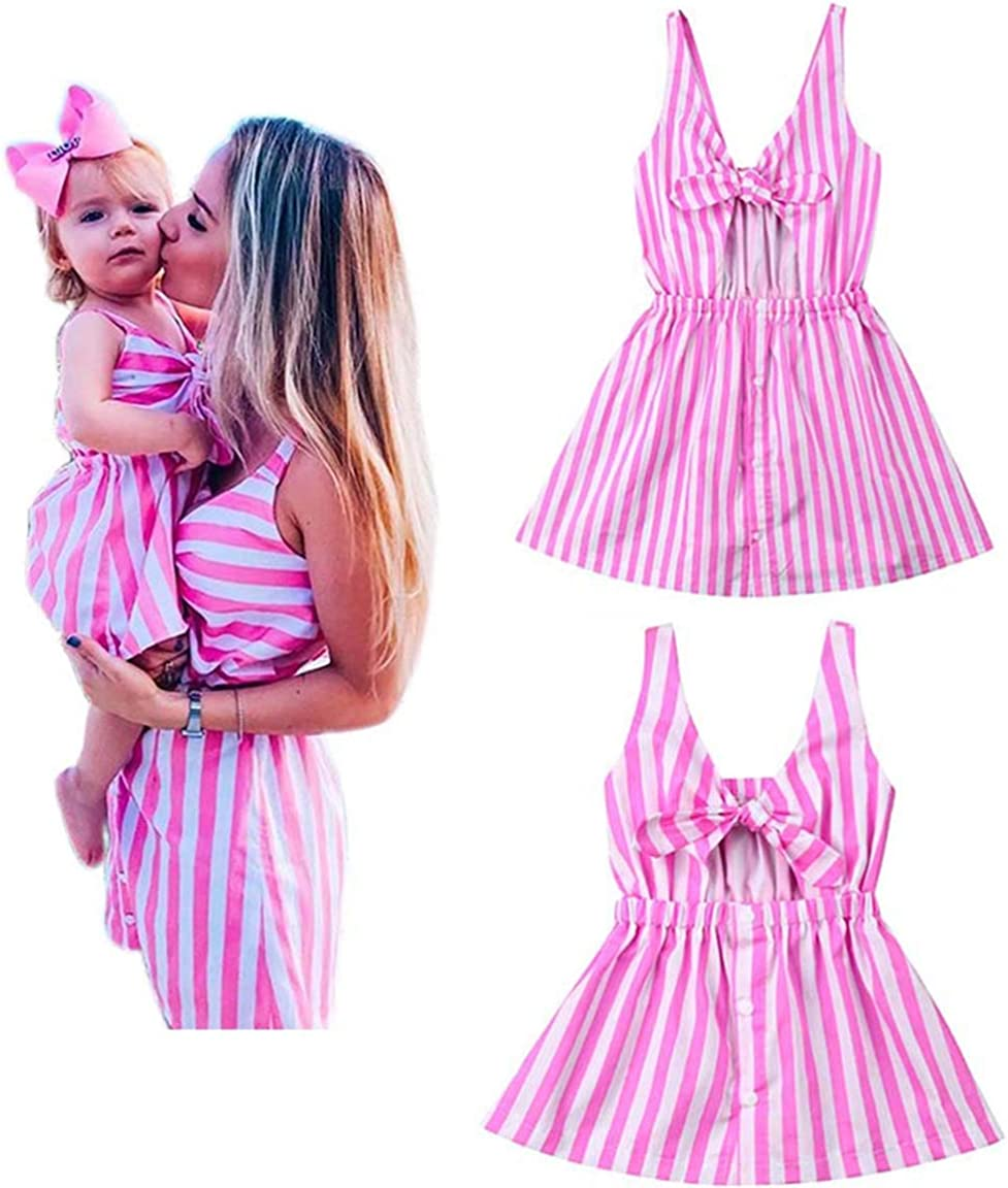 YT Baby Mommy and Me Pink Striped Print Spaghetti Straps Dresses Family Matching Sleeveless Bow Tie Knot Front Midi Dress