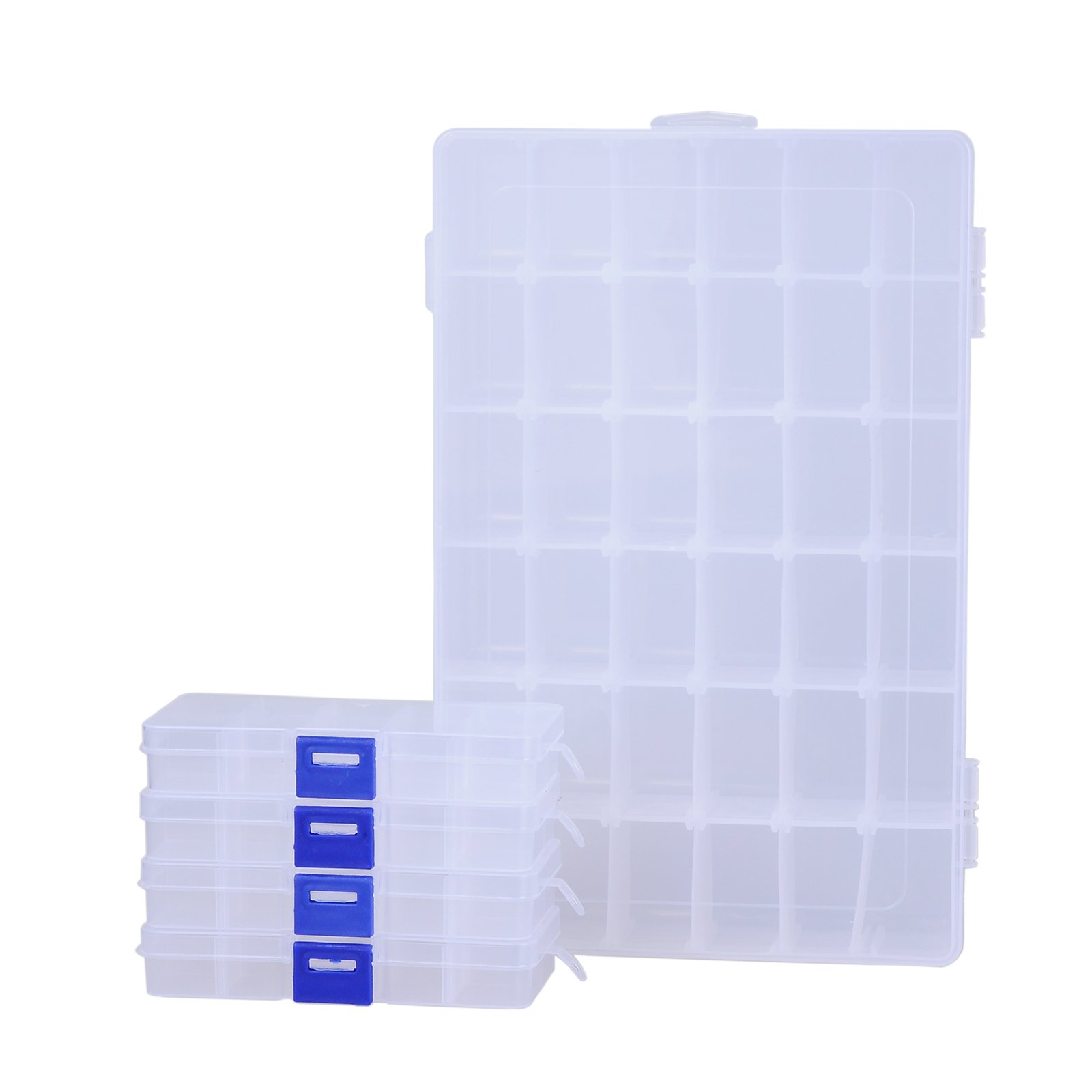 ECROCY Pack of 5 Plastic Storage Box with Adjustable Dividers for Beads, Jewelry,Tools and Fishing Lures(1pc Organizer Box with 36 Grids & 4pcs Box with 10 Grids)