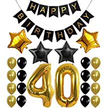 40th Birthday Party Decorations Kit, Happy Birthday Banner, 40th Gold Number Balloons,Gold and Black, Number 40, Perfect 40 Years Old Party Supplies,Free Bday Printable Checklist