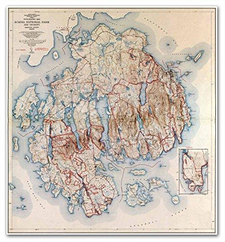 (Topographic MAP of Acadia National Park - Hancock County MAINE circa 1942 - measures 24
