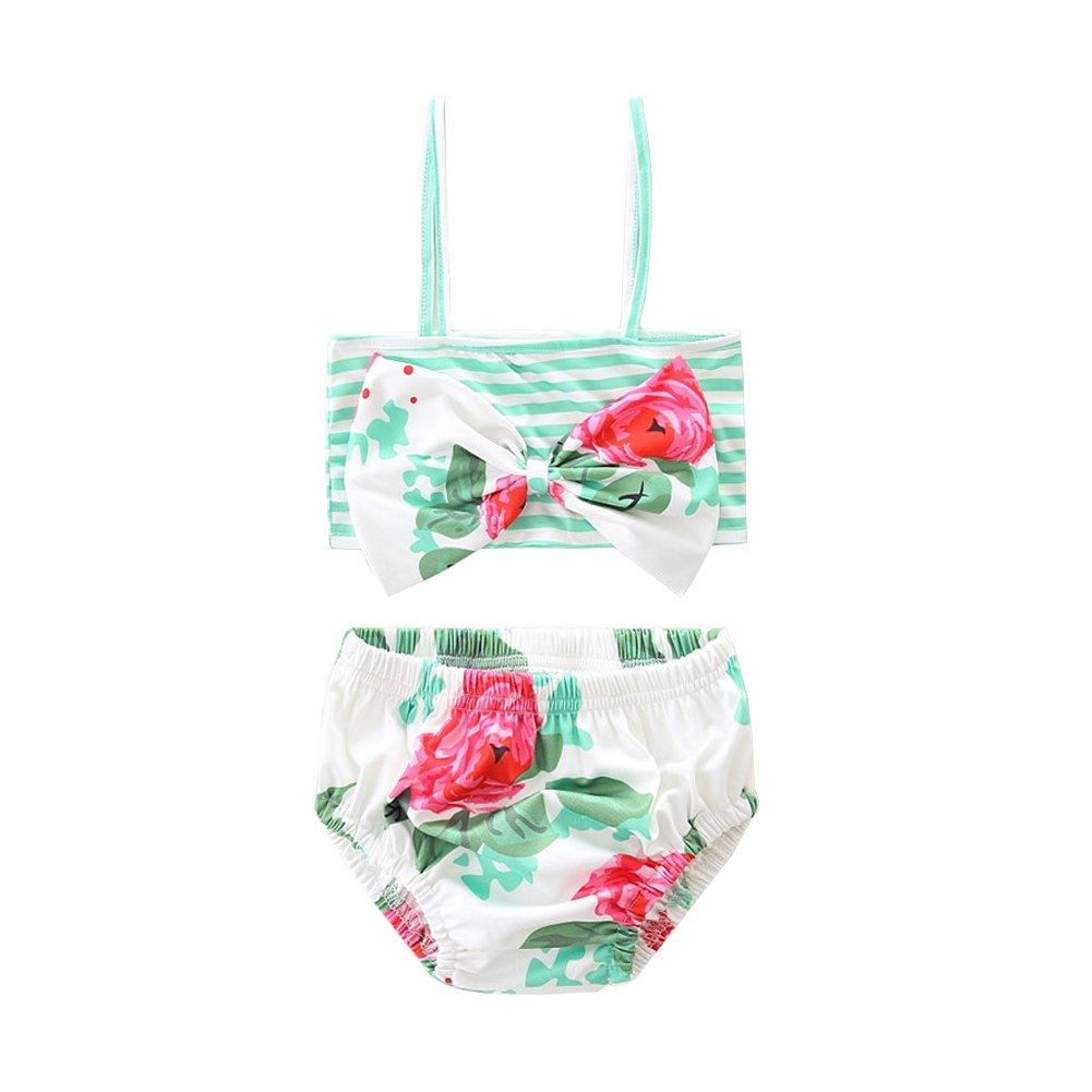 Scfcloth Baby Girls Mint Green Floral Swimsuit Kids 2Pcs Spaghetti Straps Bikini Set (2T)