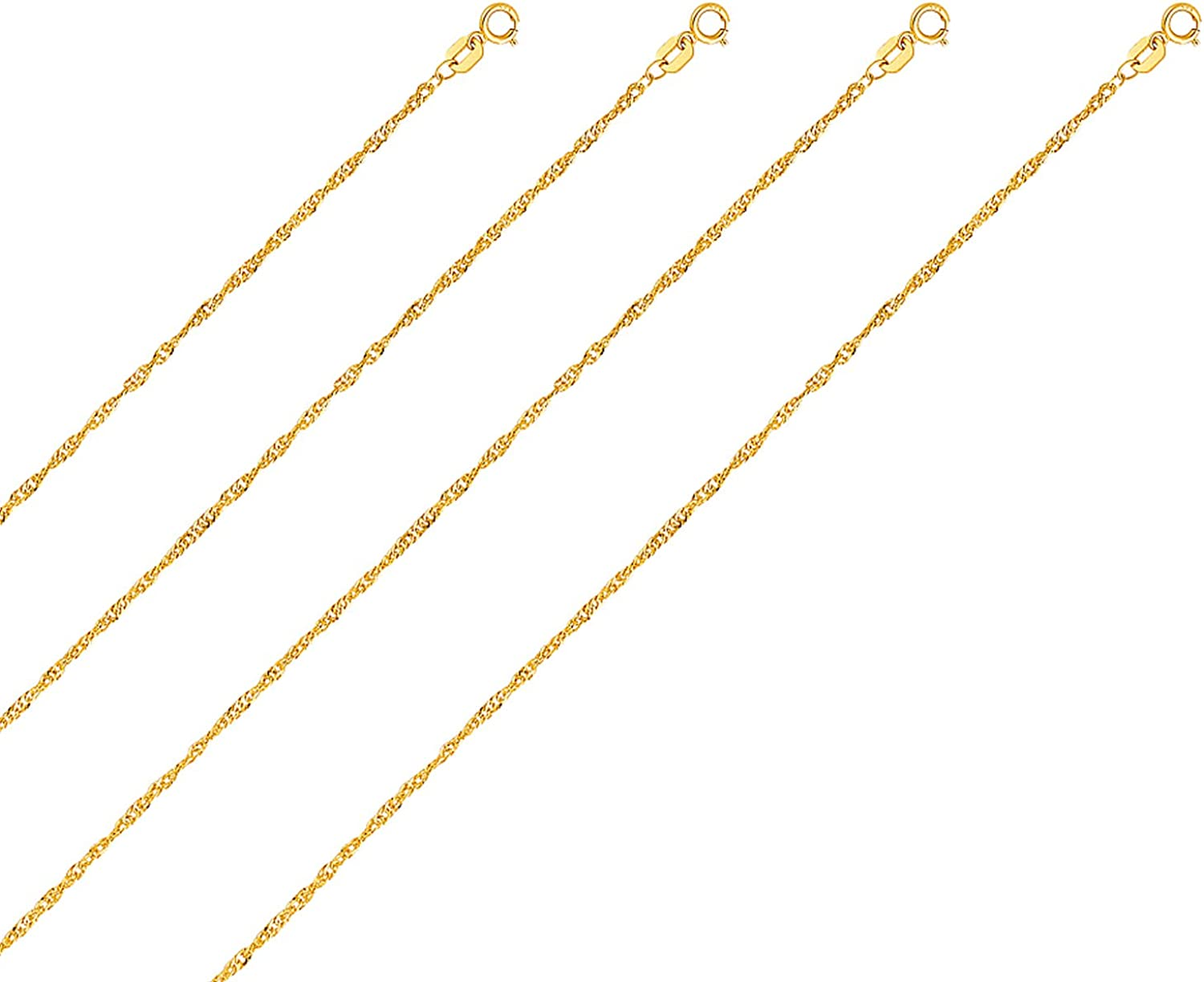 TGDJ 14k White//Yellow//Rose Gold 1.8mm Singapore Chain Necklace with Spring Ring Clasp