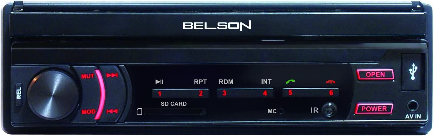"""Pantalla t/áctil TFT de 7/"""" Pulgadas motorizada Radio Android FM 1DIN para Coche Belson BS-570 de 4x45W de Potencia Lector USB y Micro SD Reproductor Mp3 con Manos Libres Bluetooth Y MirrorLink"""