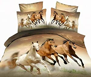 Erosebridal Horses Printed Duvet Cover Set Full Size Brown Teen Boys Bedding Set Animal Theme Comforter Cover Unique Exotic Bedspread Cover Horse Pattern Decor Quilt Cover Soft Lightweight