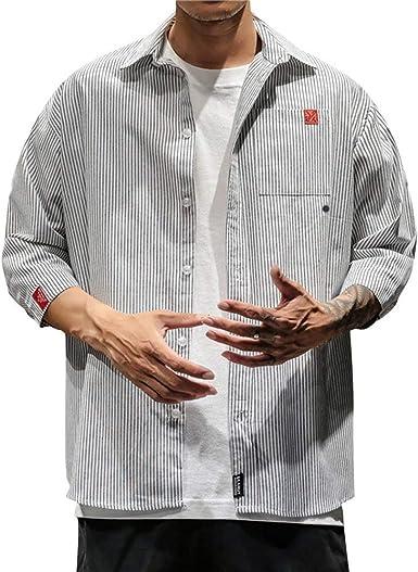 Camisa a Rayas de Moda Camisas Casual para Hombre Tops de Manga Larga para Hombre Chaqueta